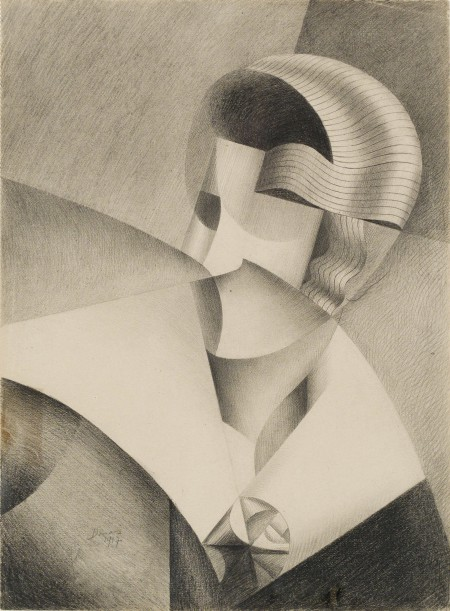 Marthe Donas Cubist Head, 1917 Pencil on paper 27.5 x 22 / 60 x 65 cm Private collection © Photo Cedric Verhelst VG Bild-Kunst, Bonn 2015