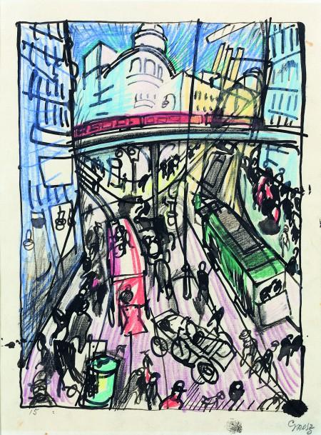 George Grosz, Straße mit Hochbahnbrücke, 1915, Privatsammlung, Düsseldorf © Estate of George Grosz, Princeton, N. J. / VG Bild-Kunst, Bonn 2016, Foto: Horst Kolberg