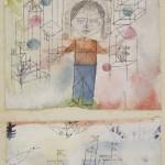 PAUL KLEE, AUSERWÄHLTER KNABE, 1918  Feder und Aquarell auf Kreidegrundierung auf Leinen, zerschnitten und neu kombiniert, auf Karton, 10,5 x 13 cm Privatsammlung, New York, courtesy Moeller Fine Art, New York © Laura Shea