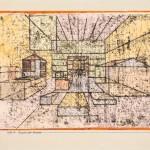 PAUL KLEE, RAUM DER HÄUSER, 1921  Ölpause und Aquarell auf Papier mit Leimtupfen auf Karton, 23,2 x 35,2 cm Privatsammlung, Schweiz, courtesy Galerie Kornfeld, Bern © Galerie Kornfeld, Bern