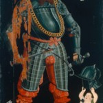 Hans Asper Herrenporträt Wilhelm Frölich. Ganzfiguriges Bildnis mit Wappen und Oberwappen der Familie Frölich, 1549 Öl und Tempera auf Holz, 213 x 111 cm  Schweizerisches Nationalmuseum, Zürich