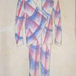Giacomo Balla  Bozzetto per vestito da uomo, 1914 Aquarell auf Papier, 29 x 21 cm Fondazione Biagiotti Cigna, © 2018 ProLitteris, Zürich