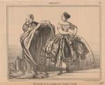 Honoré Daumier  De l'utilité de la crinoline pour frauder l'octroi.  Vom Nutzen des Reifrocks, um den Zoll zu betrügen. In: Le Charivari, 19.06.1857 Lithographie, 20,8 x 26,7 cm Kunsthaus Zürich